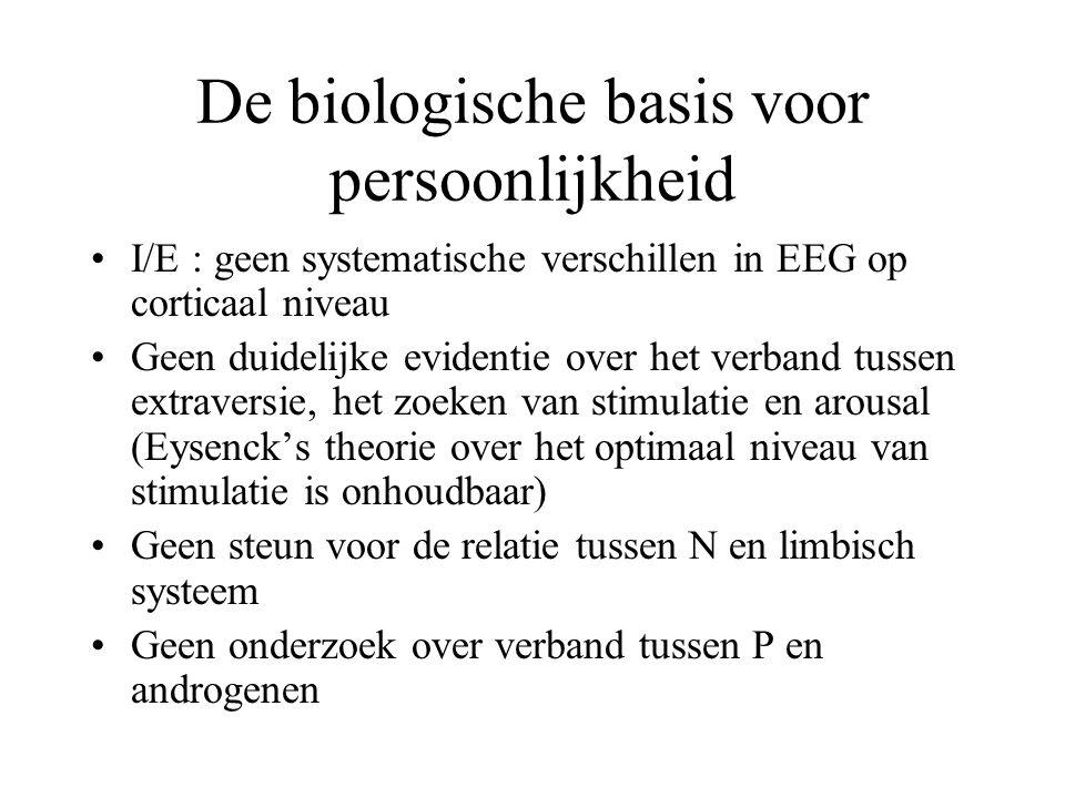 De biologische basis voor persoonlijkheid •I/E : geen systematische verschillen in EEG op corticaal niveau •Geen duidelijke evidentie over het verband