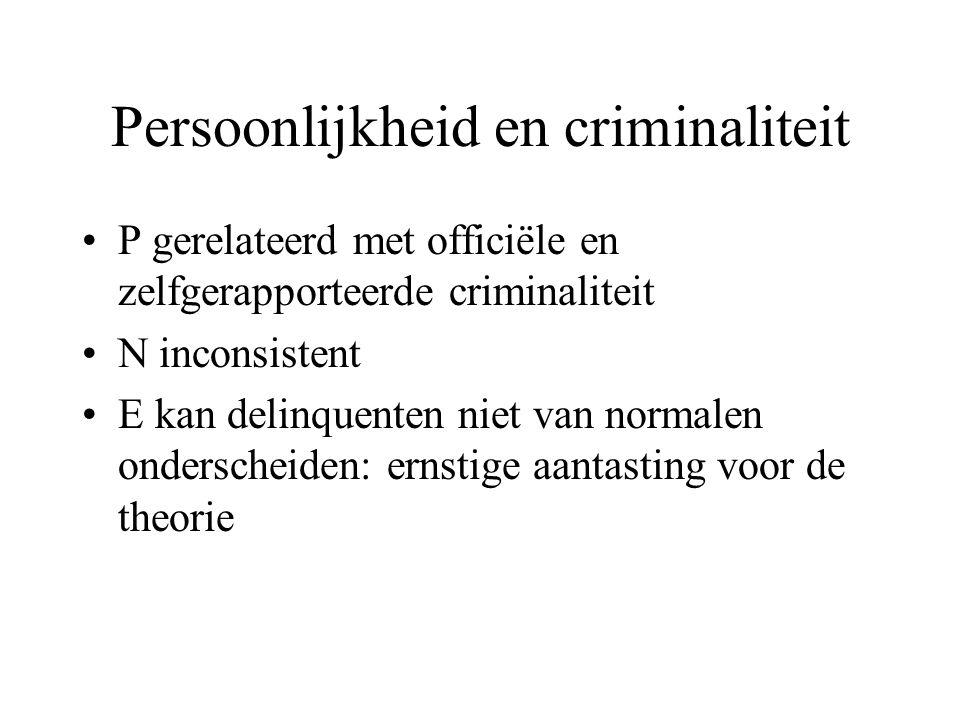 Persoonlijkheid en criminaliteit •P gerelateerd met officiële en zelfgerapporteerde criminaliteit •N inconsistent •E kan delinquenten niet van normale