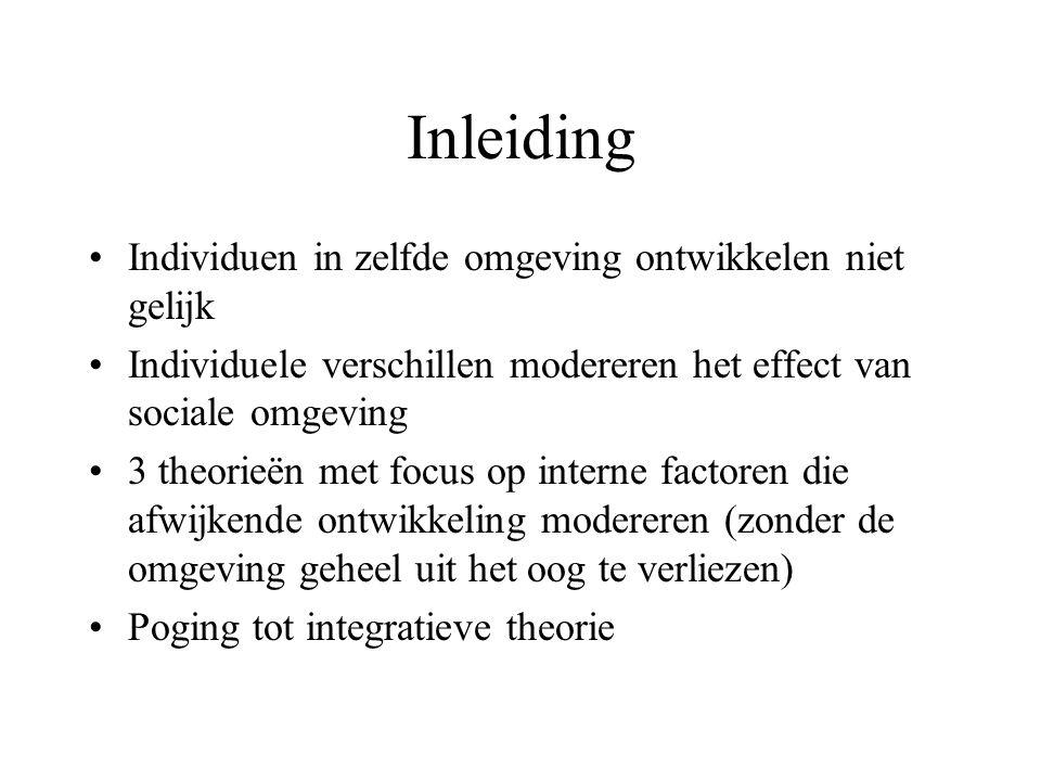 Inleiding •Individuen in zelfde omgeving ontwikkelen niet gelijk •Individuele verschillen modereren het effect van sociale omgeving •3 theorieën met f