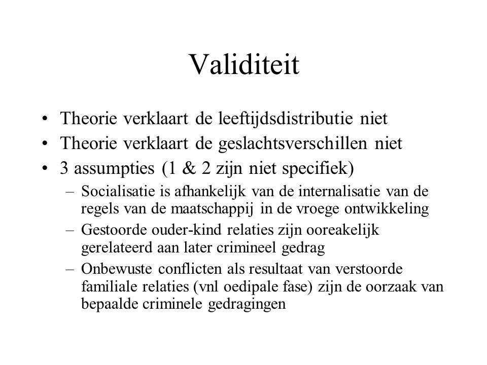 Validiteit •Theorie verklaart de leeftijdsdistributie niet •Theorie verklaart de geslachtsverschillen niet •3 assumpties (1 & 2 zijn niet specifiek) –