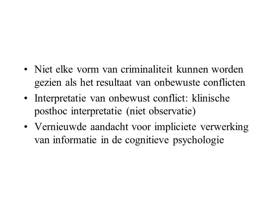 •Niet elke vorm van criminaliteit kunnen worden gezien als het resultaat van onbewuste conflicten •Interpretatie van onbewust conflict: klinische post