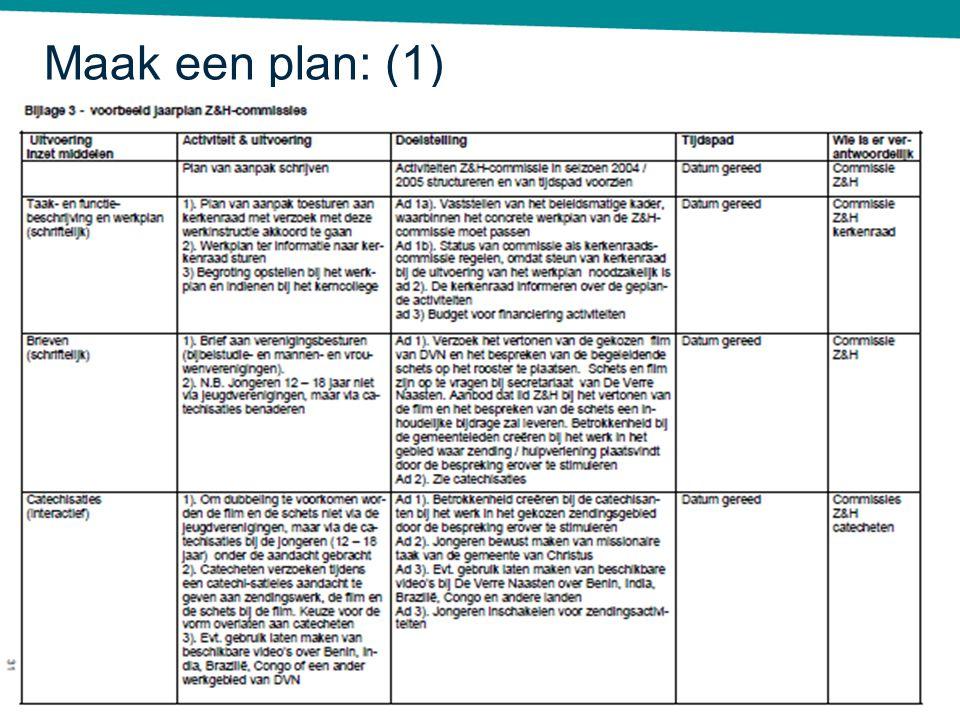 Maak een plan: (1)