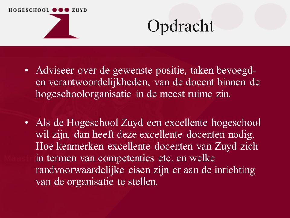 Opdracht •Adviseer over de gewenste positie, taken bevoegd- en verantwoordelijkheden, van de docent binnen de hogeschoolorganisatie in de meest ruime