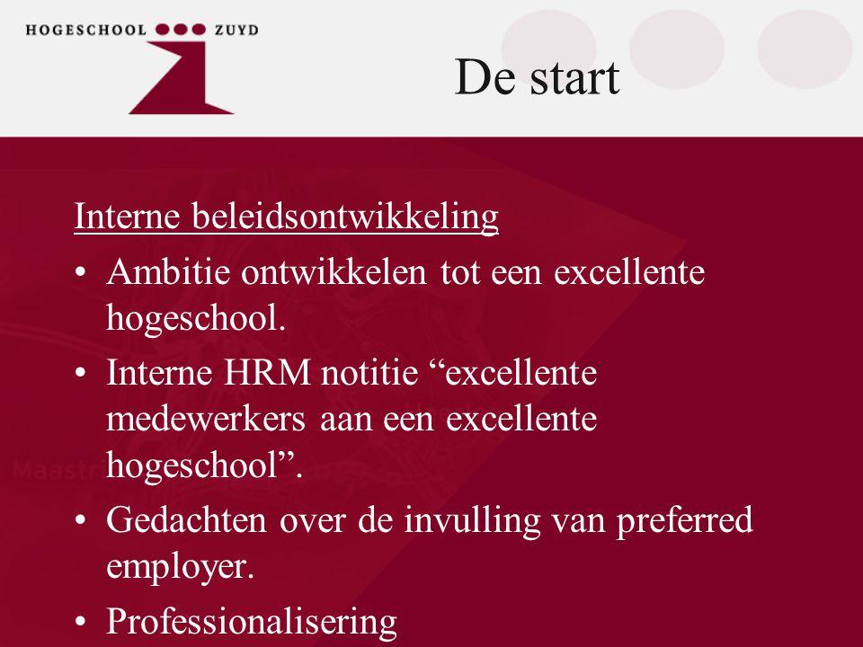 """De start Interne beleidsontwikkeling •Ambitie ontwikkelen tot een excellente hogeschool. •Interne HRM notitie """"excellente medewerkers aan een excellen"""