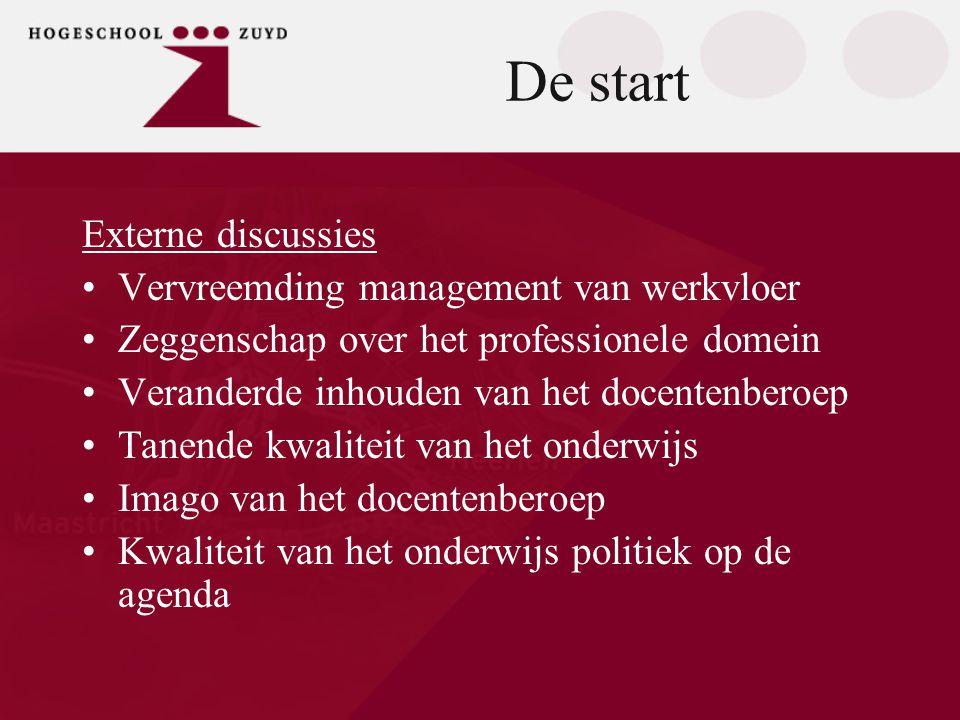 De start Externe discussies •Vervreemding management van werkvloer •Zeggenschap over het professionele domein •Veranderde inhouden van het docentenber