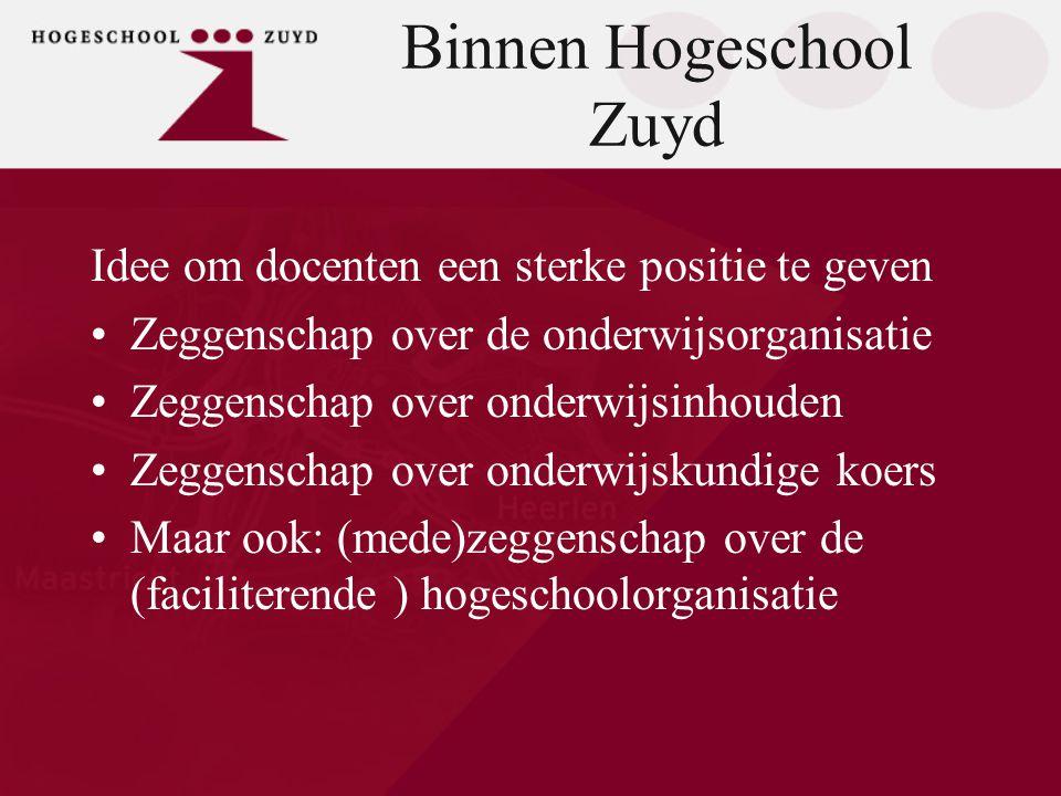 Binnen Hogeschool Zuyd Idee om docenten een sterke positie te geven •Zeggenschap over de onderwijsorganisatie •Zeggenschap over onderwijsinhouden •Zeg