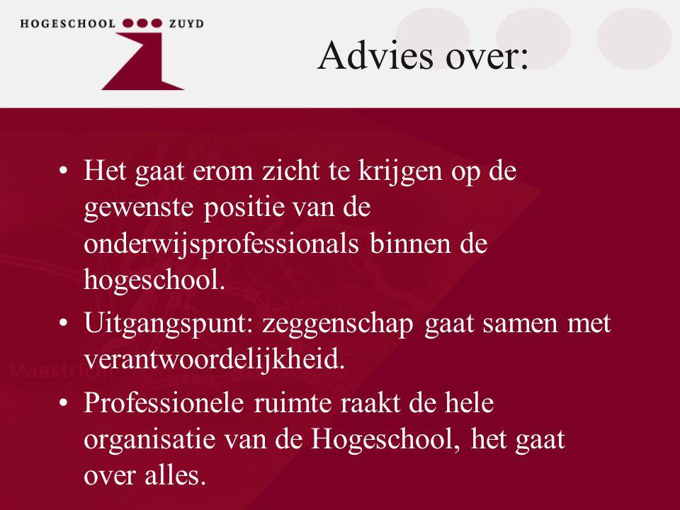 Advies over: •Het gaat erom zicht te krijgen op de gewenste positie van de onderwijsprofessionals binnen de hogeschool. •Uitgangspunt: zeggenschap gaa