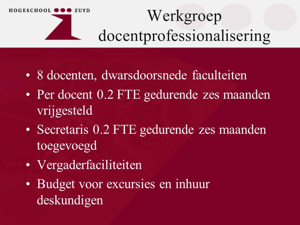 Werkgroep docentprofessionalisering •8 docenten, dwarsdoorsnede faculteiten •Per docent 0.2 FTE gedurende zes maanden vrijgesteld •Secretaris 0.2 FTE