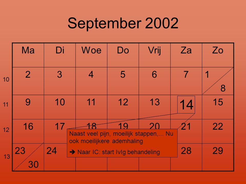 September 2002 MaDiWoeDoVrijZaZo 2345671 8 910111213 14 15 16171819202122 23 30 24 2526272829 Naast veel pijn, moeilijk stappen,...