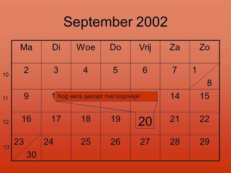 September 2002 MaDiWoeDoVrijZaZo 2345671 8 9101112131415 16171819 20 2122 23 30 24 2526272829 Nog eens gestapt met looprekje.