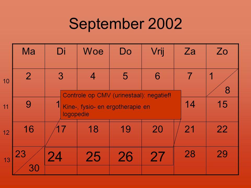 September 2002 MaDiWoeDoVrijZaZo 2345671 8 9101112131415 16171819202122 23 30 24252627 2829 10 11 12 13 Controle op CMV (urinestaal): negatief.