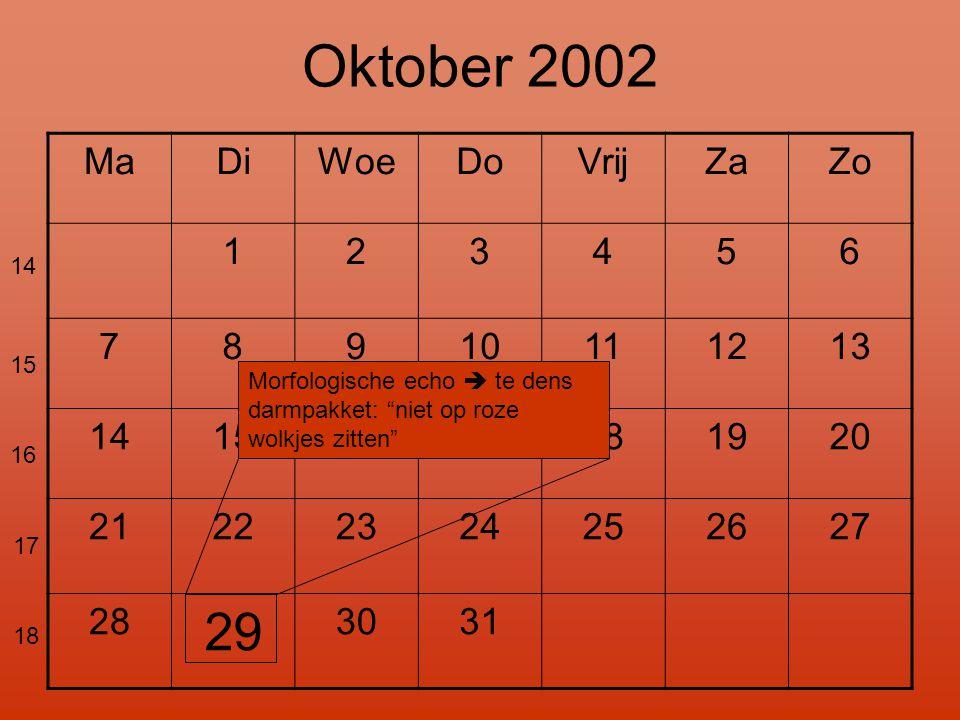 "MaDiWoeDoVrijZaZo 123456 78910111213 14151617181920 21222324252627 28 29 3031 14 15 16 17 18 Oktober 2002 Morfologische echo  te dens darmpakket: ""ni"