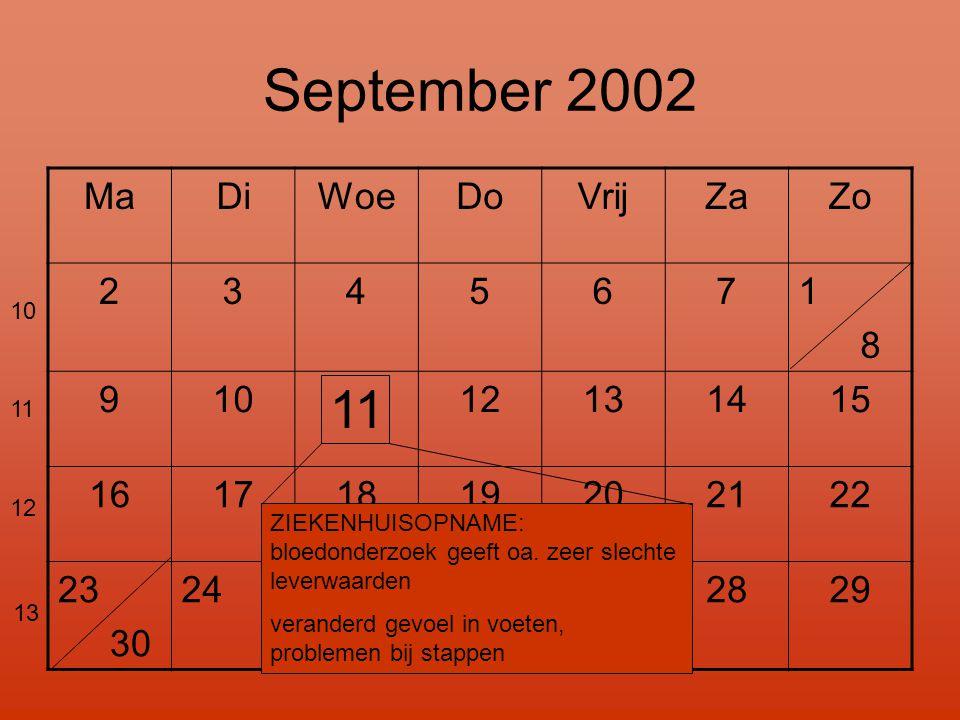 September 2002 MaDiWoeDoVrijZaZo 2345671 8 910 11 12131415 16171819202122 23 30 24 2526272829 ZIEKENHUISOPNAME: bloedonderzoek geeft oa. zeer slechte