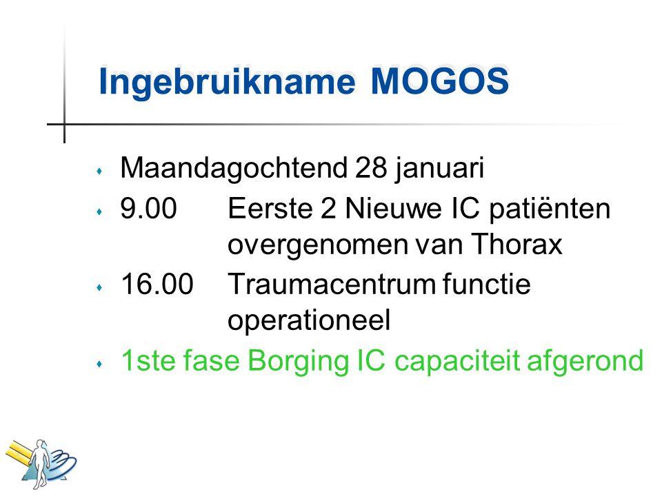 Ingebruikname MOGOS s Maandagochtend 28 januari s 9.00 Eerste 2 Nieuwe IC patiënten overgenomen van Thorax s 16.00 Traumacentrum functie operationeel