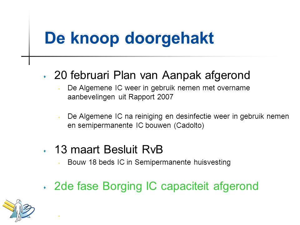De knoop doorgehakt s 20 februari Plan van Aanpak afgerond s De Algemene IC weer in gebruik nemen met overname aanbevelingen uit Rapport 2007 s De Alg