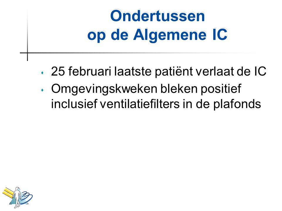 Ondertussen op de Algemene IC s 25 februari laatste patiënt verlaat de IC s Omgevingskweken bleken positief inclusief ventilatiefilters in de plafonds