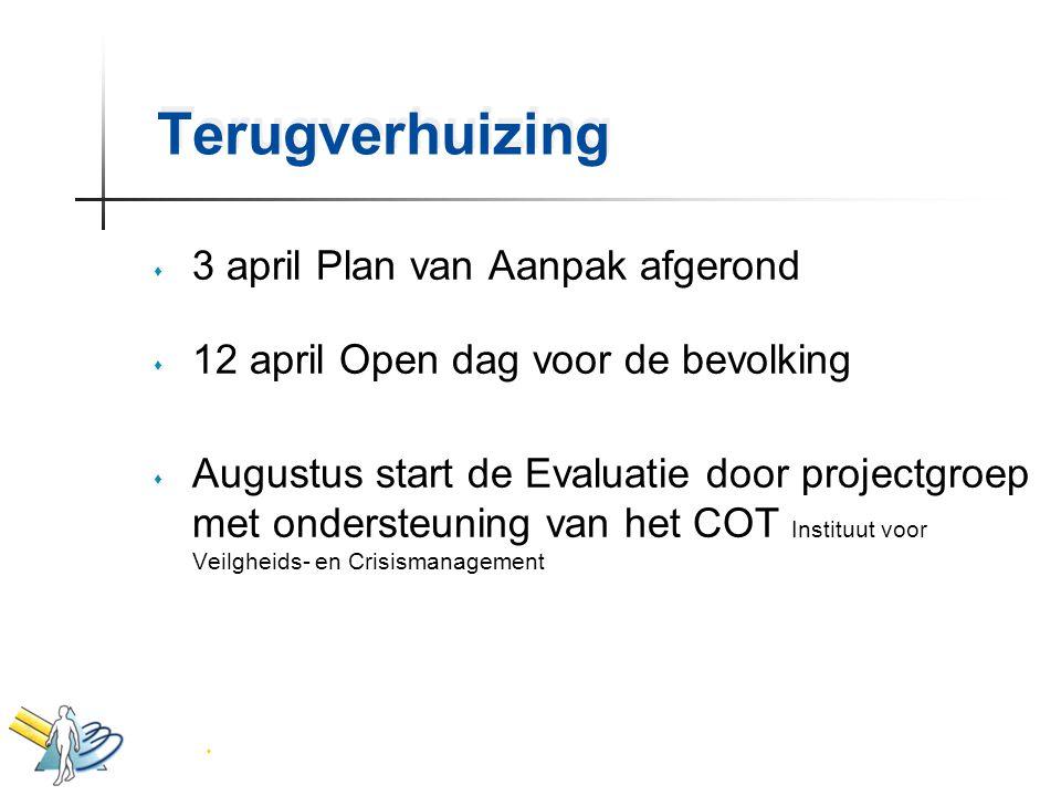 Terugverhuizing s 3 april Plan van Aanpak afgerond s 12 april Open dag voor de bevolking s Augustus start de Evaluatie door projectgroep met ondersteu