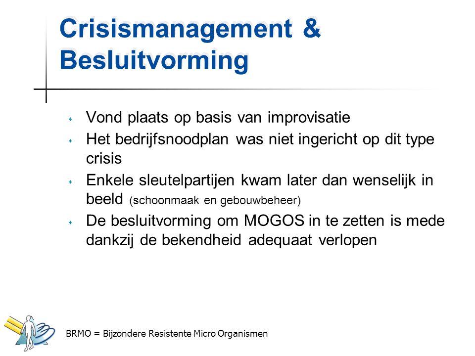 Crisismanagement & Besluitvorming s Vond plaats op basis van improvisatie s Het bedrijfsnoodplan was niet ingericht op dit type crisis s Enkele sleute
