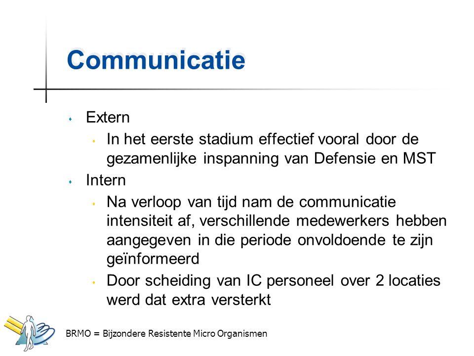 Communicatie s Extern s In het eerste stadium effectief vooral door de gezamenlijke inspanning van Defensie en MST s Intern s Na verloop van tijd nam