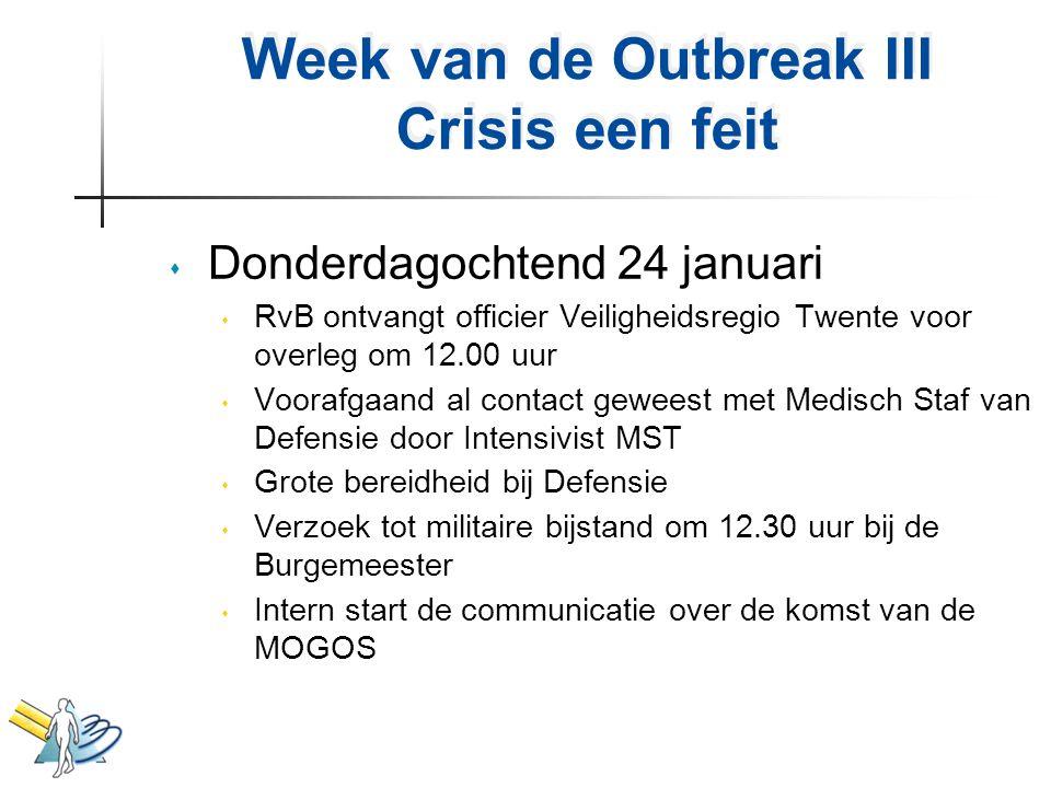 Week van de Outbreak III Crisis een feit s Donderdagochtend 24 januari s RvB ontvangt officier Veiligheidsregio Twente voor overleg om 12.00 uur s Voo