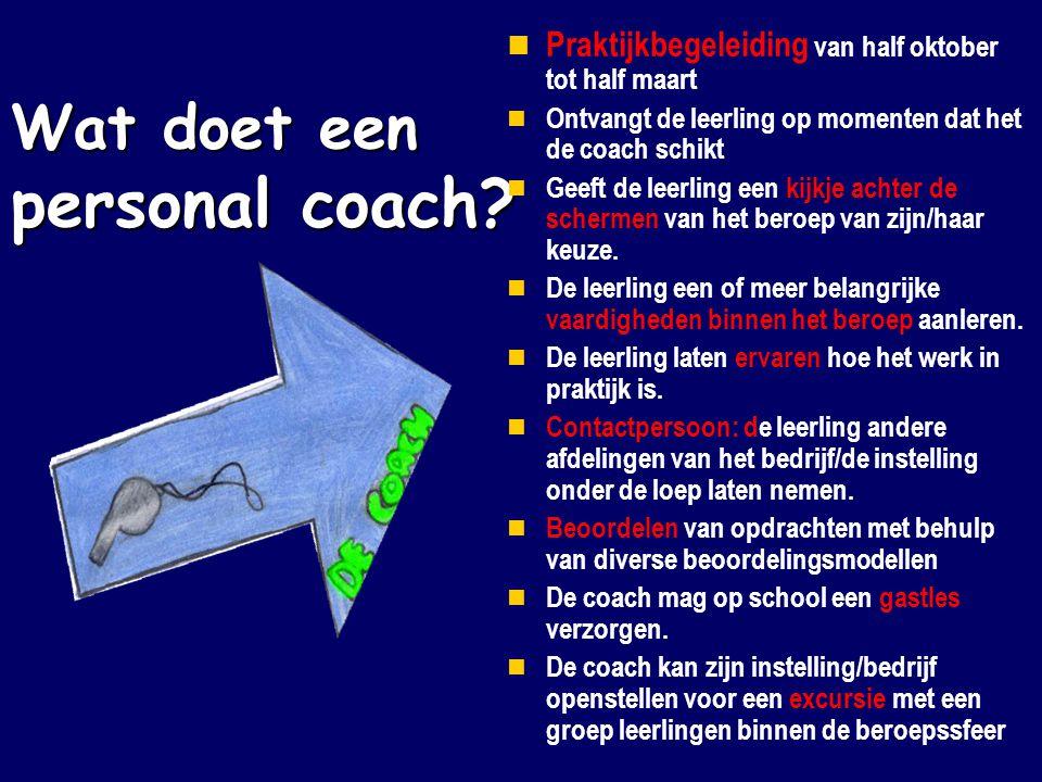 Wat doet een personal coach?  Praktijkbegeleiding van half oktober tot half maart  Ontvangt de leerling op momenten dat het de coach schikt  Geeft
