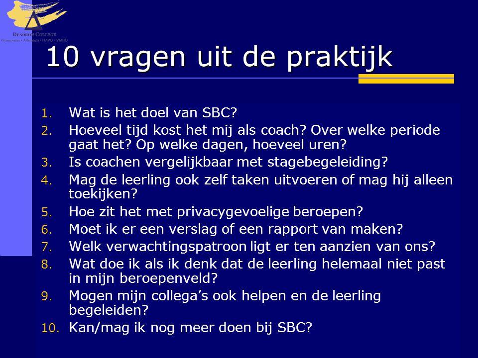 10 vragen uit de praktijk 1. Wat is het doel van SBC? 2. Hoeveel tijd kost het mij als coach? Over welke periode gaat het? Op welke dagen, hoeveel ure