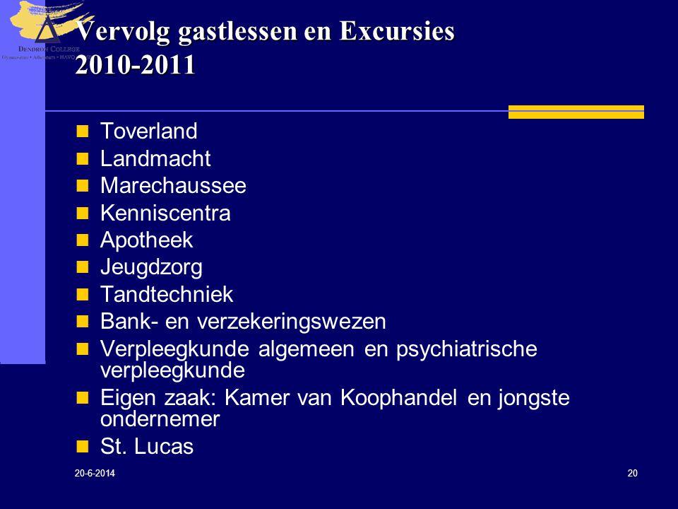 20-6-2014 20 Vervolg gastlessen en Excursies 2010-2011  Toverland  Landmacht  Marechaussee  Kenniscentra  Apotheek  Jeugdzorg  Tandtechniek  B