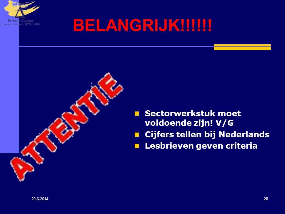 20-6-2014 28 BELANGRIJK!!!!!!  Sectorwerkstuk moet voldoende zijn! V/G  Cijfers tellen bij Nederlands  Lesbrieven geven criteria