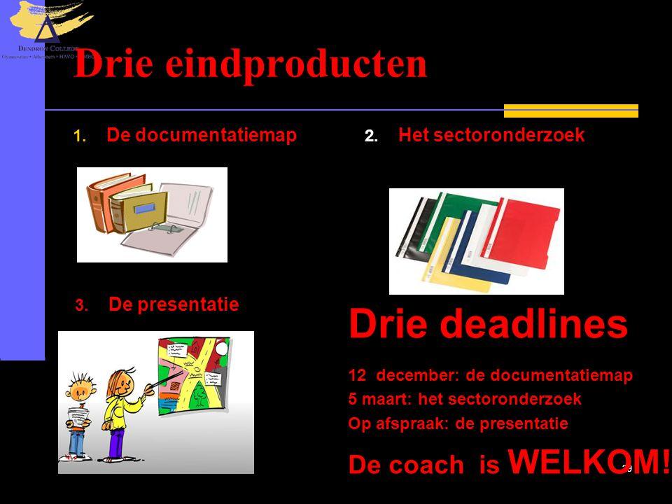 20-6-2014 29 Drie eindproducten 1. De documentatiemap 2. Het sectoronderzoek 3. De presentatie Drie deadlines 12 december: de documentatiemap 5 maart: