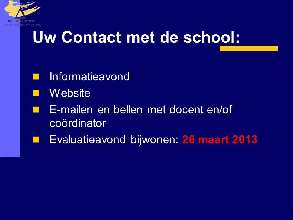 Uw Contact met de school:  Informatieavond  Website  E-mailen en bellen met docent en/of coördinator  Evaluatieavond bijwonen: 26 maart 2013