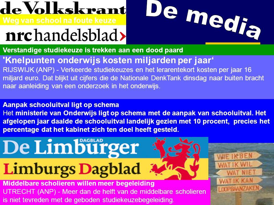 20-6-2014 6 Weg van school na foute keuze 'Knelpunten onderwijs kosten miljarden per jaar' RIJSWIJK (ANP) - Verkeerde studiekeuzes en het lerarentekor