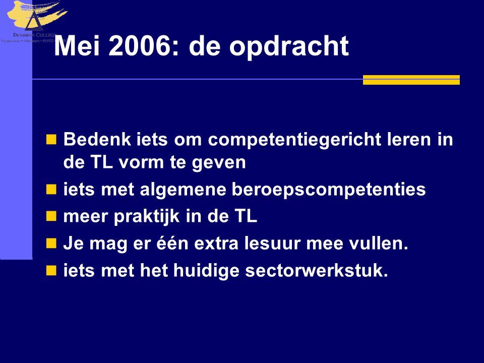 Mei 2006: de opdracht  Bedenk iets om competentiegericht leren in de TL vorm te geven  iets met algemene beroepscompetenties  meer praktijk in de T