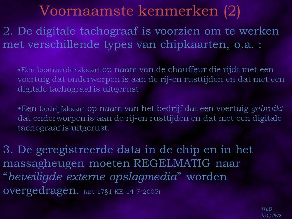 ITLBGraphics Voornaamste kenmerken (2) 2. De digitale tachograaf is voorzien om te werken met verschillende types van chipkaarten, o.a. : •Een bestuur