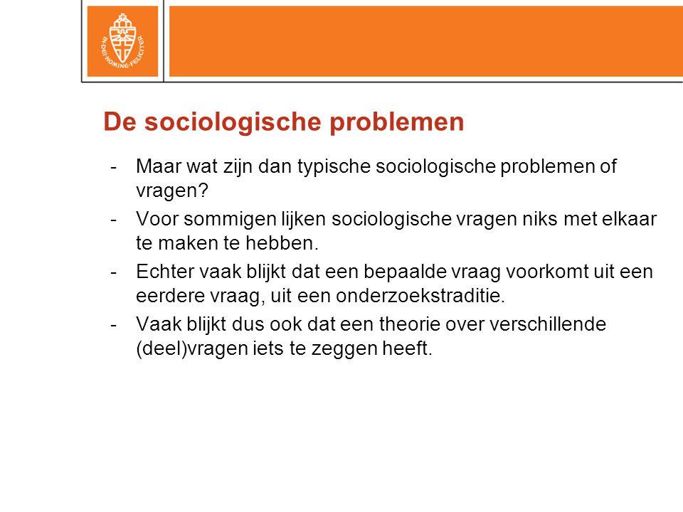 -Maar wat zijn dan typische sociologische problemen of vragen? -Voor sommigen lijken sociologische vragen niks met elkaar te maken te hebben. -Echter