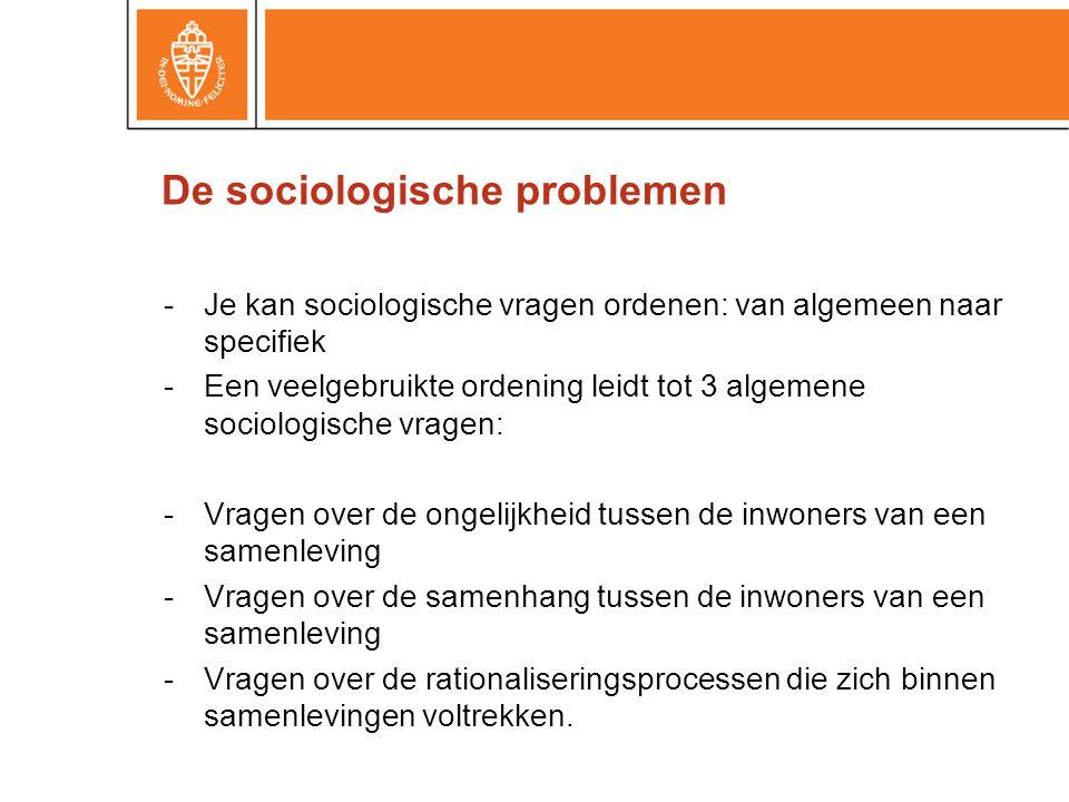 -Je kan sociologische vragen ordenen: van algemeen naar specifiek -Een veelgebruikte ordening leidt tot 3 algemene sociologische vragen: -Vragen over de ongelijkheid tussen de inwoners van een samenleving -Vragen over de samenhang tussen de inwoners van een samenleving -Vragen over de rationaliseringsprocessen die zich binnen samenlevingen voltrekken.