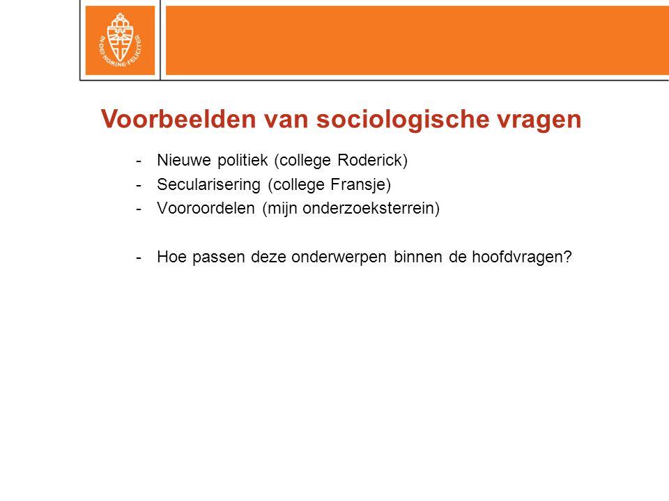 -Nieuwe politiek (college Roderick) -Secularisering (college Fransje) -Vooroordelen (mijn onderzoeksterrein) -Hoe passen deze onderwerpen binnen de hoofdvragen.