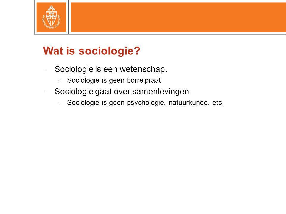 -Sociologie is een wetenschap. -Sociologie is geen borrelpraat -Sociologie gaat over samenlevingen. -Sociologie is geen psychologie, natuurkunde, etc.