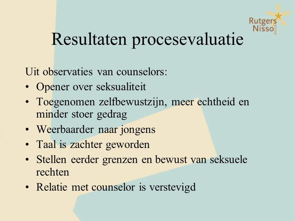 Resultaten procesevaluatie Uit observaties van counselors: •Opener over seksualiteit •Toegenomen zelfbewustzijn, meer echtheid en minder stoer gedrag
