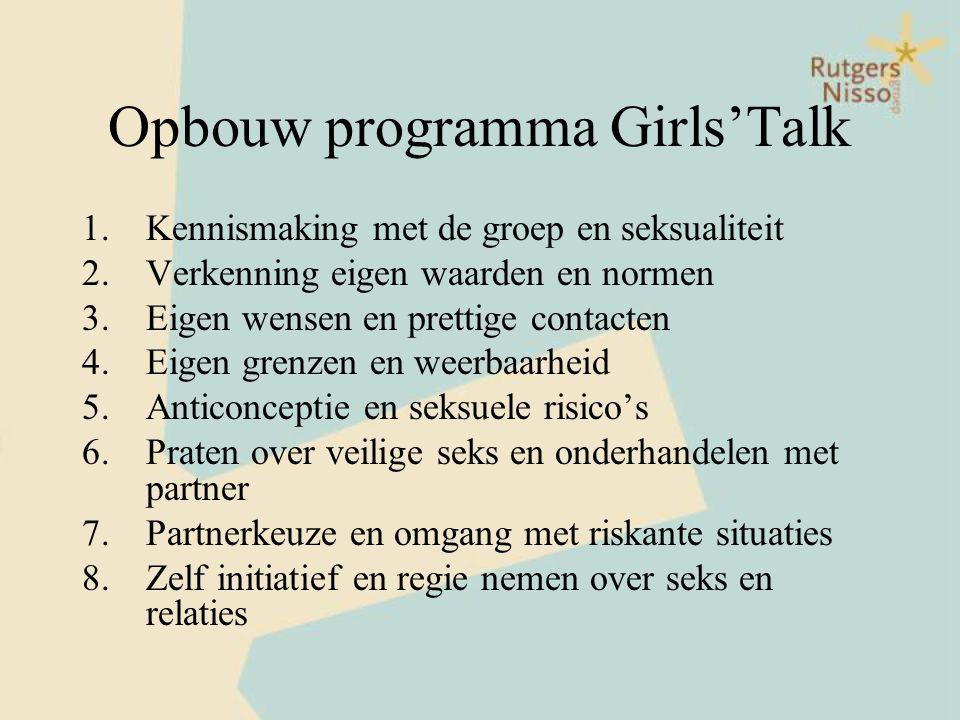 Opbouw programma Girls'Talk 1.Kennismaking met de groep en seksualiteit 2.Verkenning eigen waarden en normen 3.Eigen wensen en prettige contacten 4.Ei
