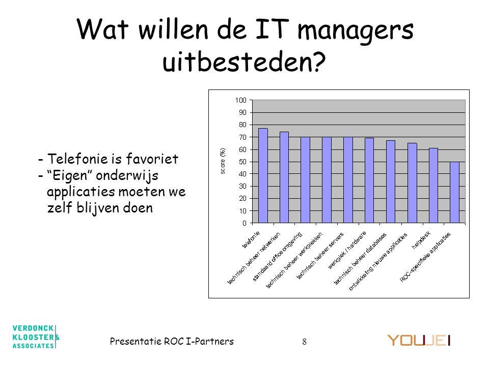 """Presentatie ROC I-Partners8 Wat willen de IT managers uitbesteden? -Telefonie is favoriet -""""Eigen"""" onderwijs applicaties moeten we zelf blijven doen"""
