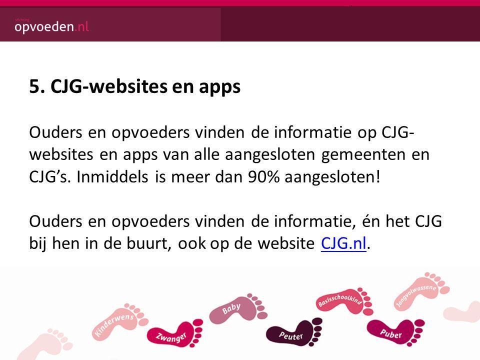 5. CJG-websites en apps Ouders en opvoeders vinden de informatie op CJG- websites en apps van alle aangesloten gemeenten en CJG's. Inmiddels is meer d