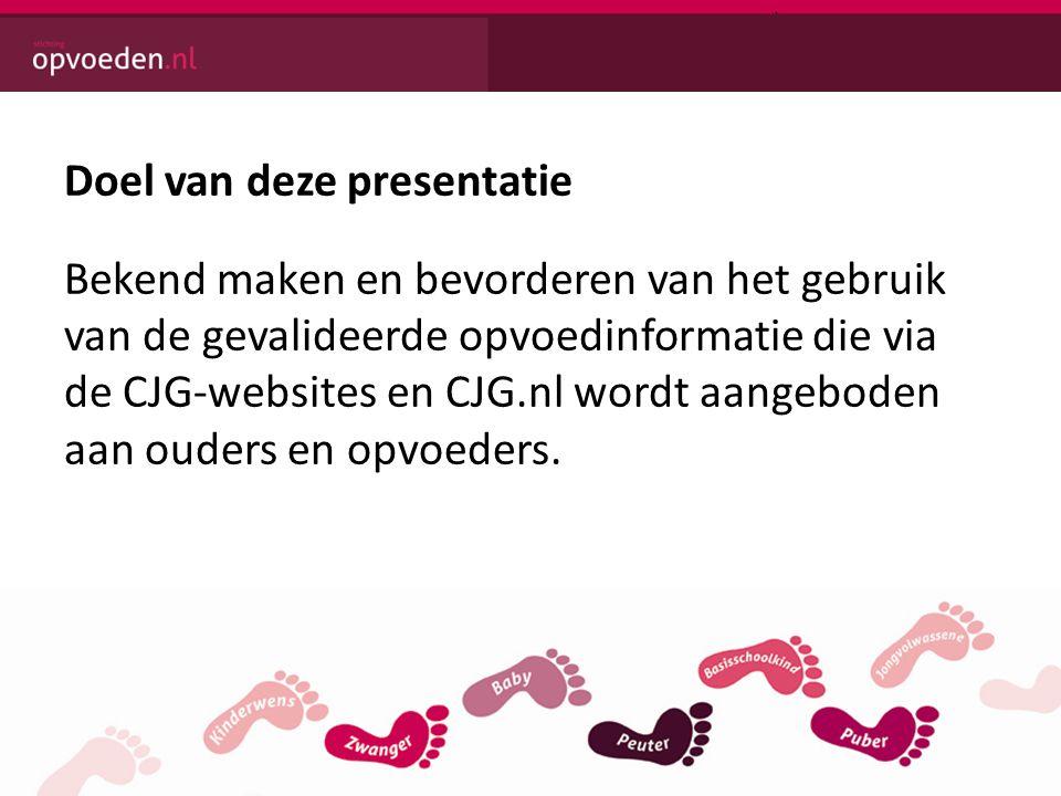 Doel van deze presentatie Bekend maken en bevorderen van het gebruik van de gevalideerde opvoedinformatie die via de CJG-websites en CJG.nl wordt aangeboden aan ouders en opvoeders.