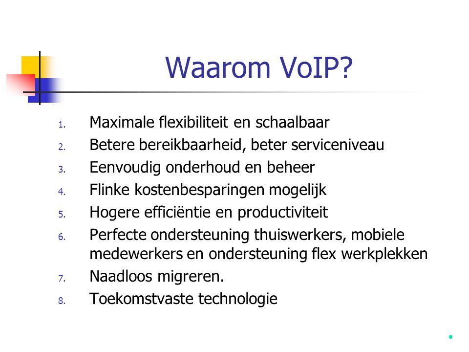 Waarom VoIP? 1. Maximale flexibiliteit en schaalbaar 2. Betere bereikbaarheid, beter serviceniveau 3. Eenvoudig onderhoud en beheer 4. Flinke kostenbe