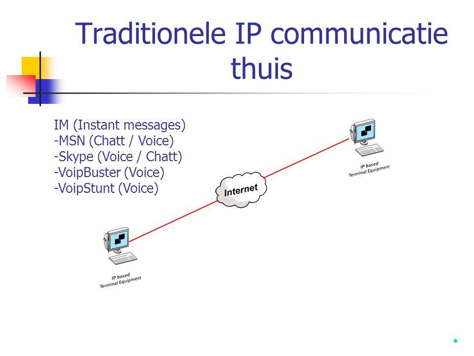 Traditionele IP communicatie thuis IM (Instant messages) -MSN (Chatt / Voice) -Skype (Voice / Chatt) -VoipBuster (Voice) -VoipStunt (Voice)