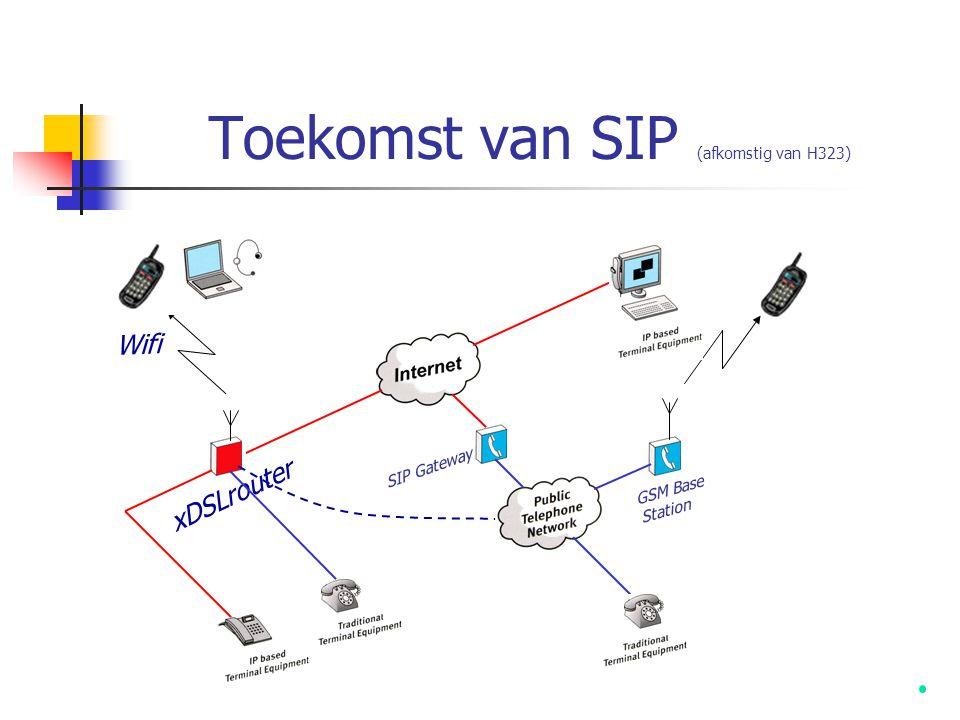 Toekomst  SIP ondersteuning staat op punt van invoer…  Nu worden geen traditionele telefoon- centrales (PBX) meer verkocht…  Over 5 jaar worden alle centrales gehost door Application Service providers (ASP)…  VoIP gaat via:  VoIP bedrijftelefooncentrales  VoIP ASP oplossingen  VoIP mobile / PDA oplossingen  VoIP Internet communicatie  VoIP Chat / Conferentie oplossingen