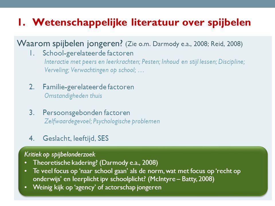 1.Wetenschappelijke literatuur over spijbelen Waarom spijbelen jongeren.