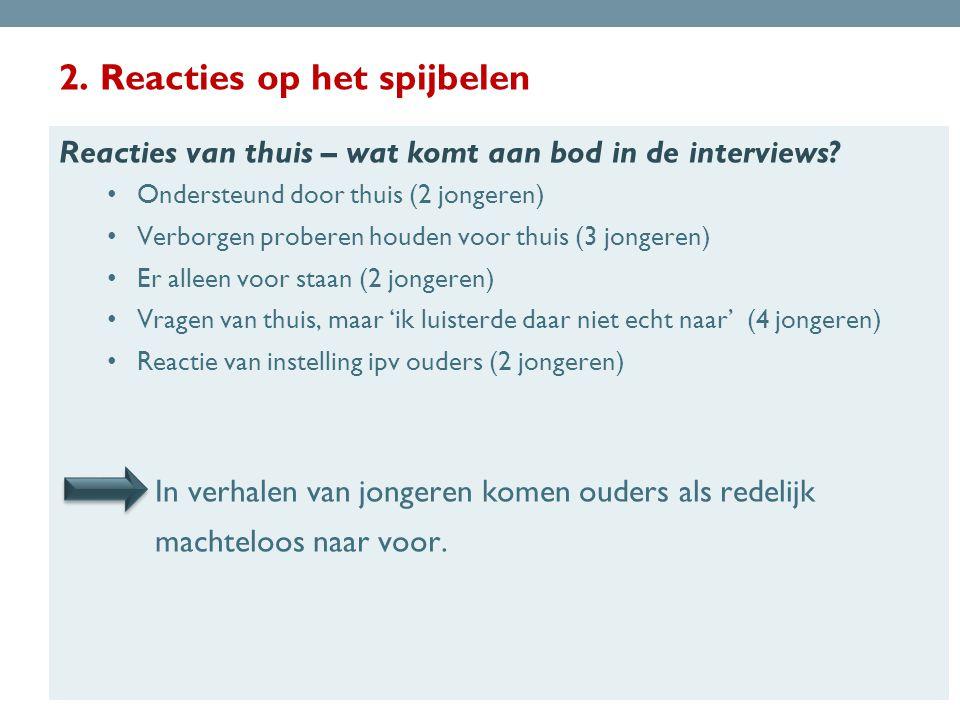 2.Reacties op het spijbelen Reacties van thuis – wat komt aan bod in de interviews.