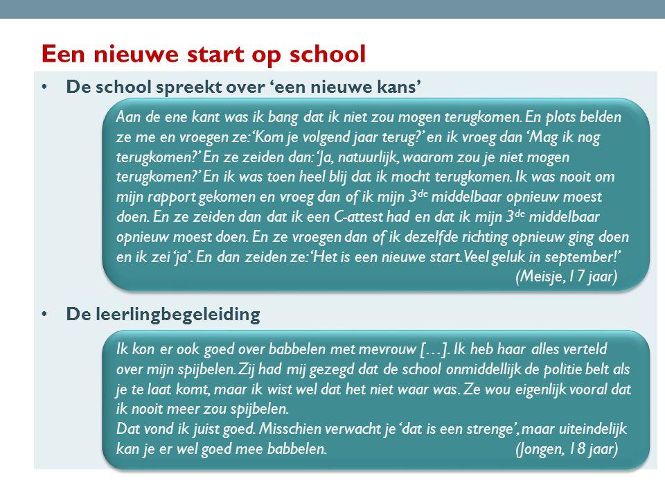 Een nieuwe start op school • De school spreekt over 'een nieuwe kans' • De leerlingbegeleiding Aan de ene kant was ik bang dat ik niet zou mogen terugkomen.