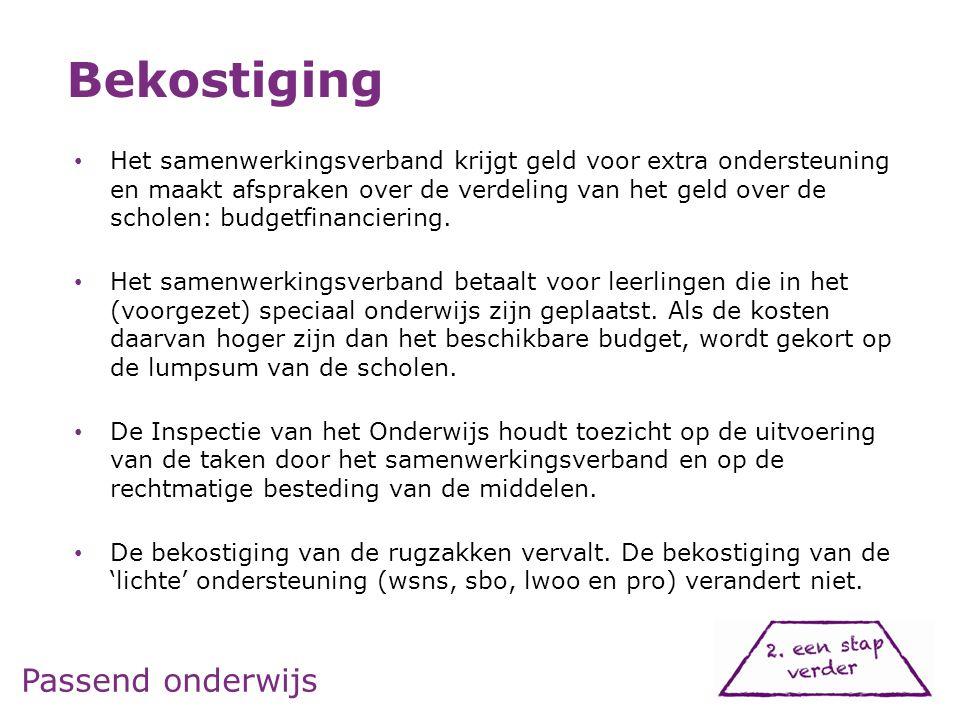 • Het samenwerkingsverband krijgt geld voor extra ondersteuning en maakt afspraken over de verdeling van het geld over de scholen: budgetfinanciering.