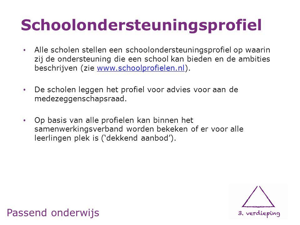 Passend onderwijs • Alle scholen stellen een schoolondersteuningsprofiel op waarin zij de ondersteuning die een school kan bieden en de ambities besch